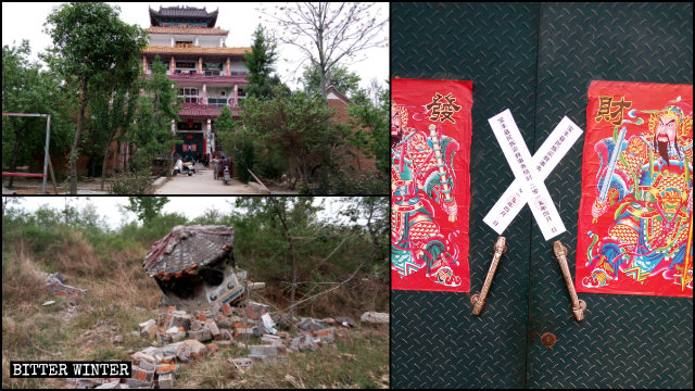 A Taoist temple was sealed off, and its incense burner smashed.