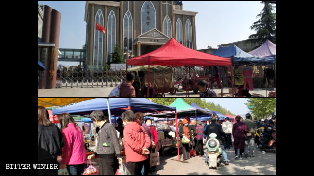 The church remained closed, while the market in front of it was crowded.