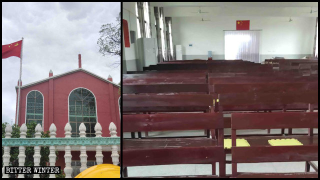 A Three-Self church in Xinyu city has no cross, only the national flag.