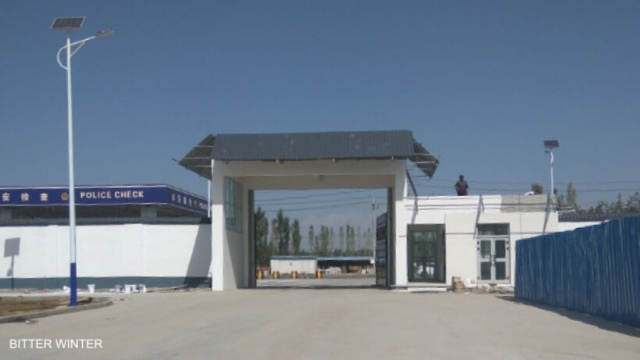 """Welcome to """"freedom"""": entering the area of the Yining transformation through education camp where inmates, mostly Uyghur, should work in nine factories."""