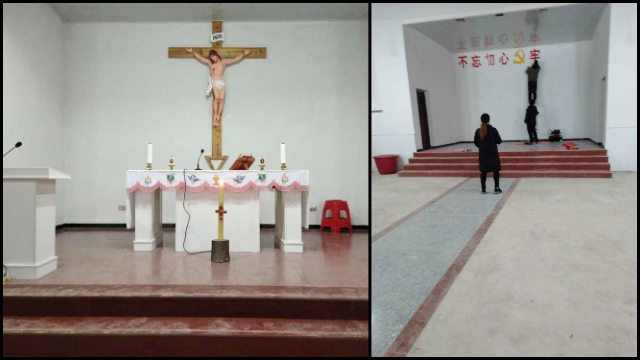 A crucifix in a Yujiang Diocese church was replaced with a propaganda slogan.