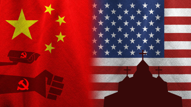 China - Usa flags, composite image