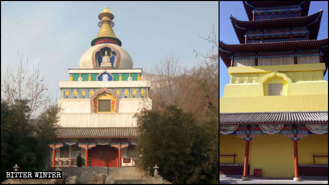 The Kalachakra Stupa before and after rectification.