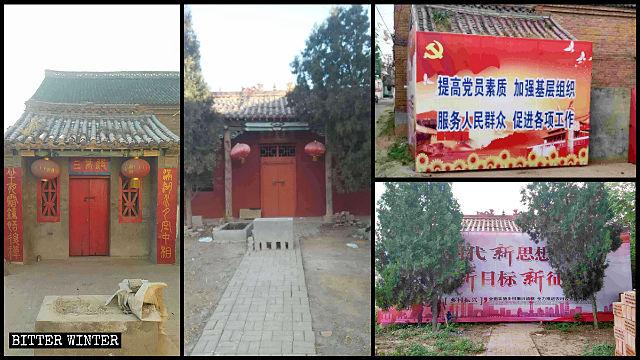 Party propaganda posters block entrances to two village temples.