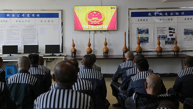 Prisoners are watching videos on patriotic education