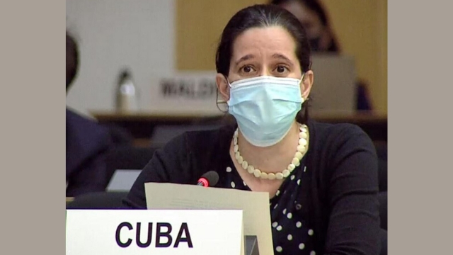 The Representative of Cuba introducing the 53-country pro-CCP resolution at the Human Rights Council in Geneva (from UN's Web TV)
