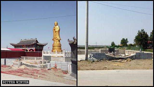 The Guanyin statue in the Dragon King Temple was destroyed.