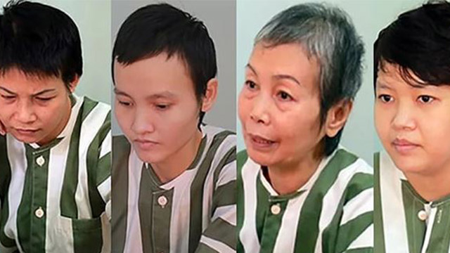 "The four defendants in the ""corpse-in-concrete"" trial from the left, Huyên, Thảo, Hà's mother, and Hà (from Twitter)."