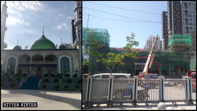 The Xihuan Mosque in Yinchuan had its dome and minarets removed in April.