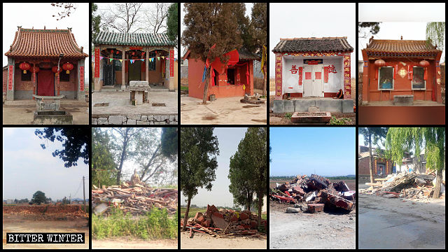 Many village temples in Hejian town were forcibly demolished.