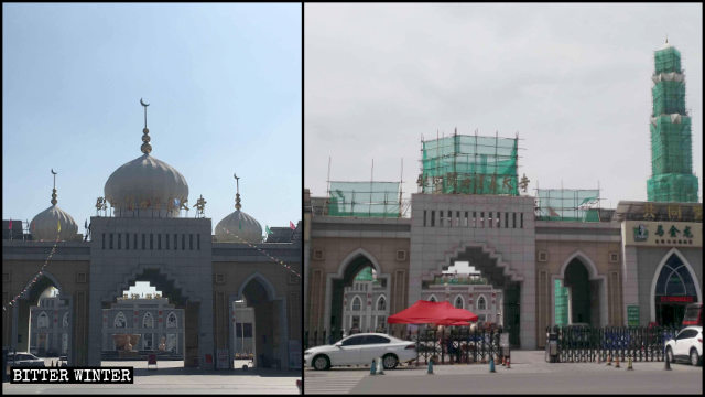 Symbols above the entrance to the Yuehai Great Mosque are being removed