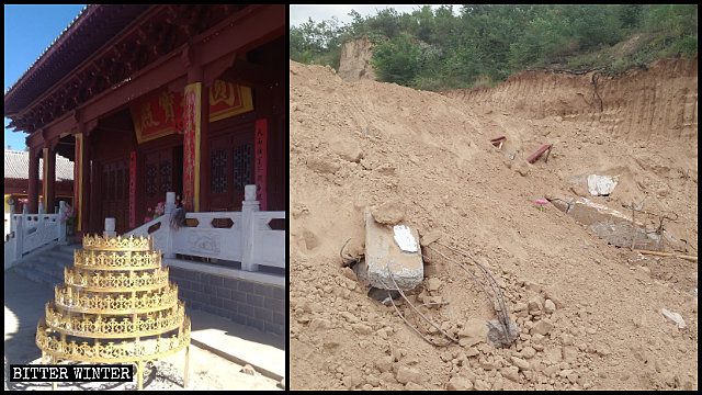 The Pujing Temple in Baota district before and after its demolition