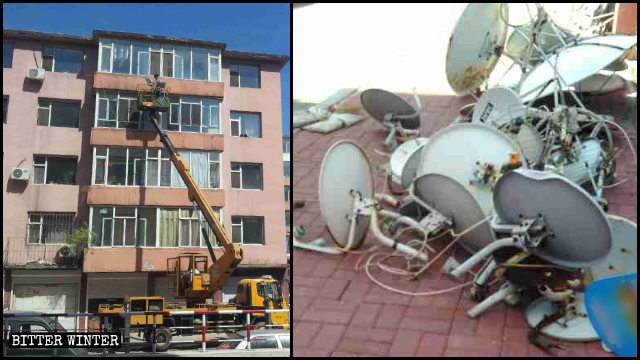 Workers are demolishing satellite dishes