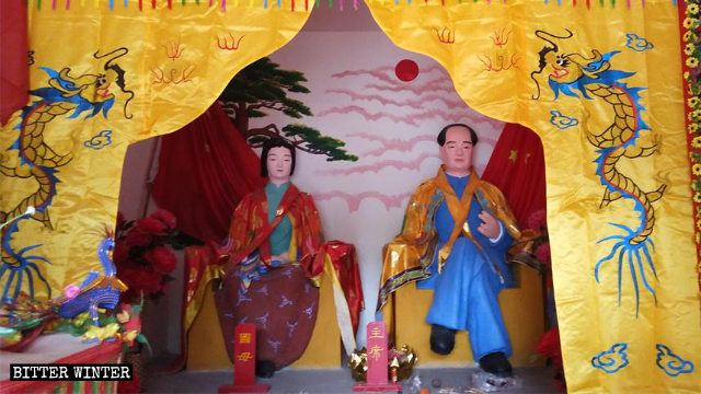 Countless people worship in a folk religion temple enshrined with statues of Mao Zedong and Yang Kaihui in Qingzhou city.