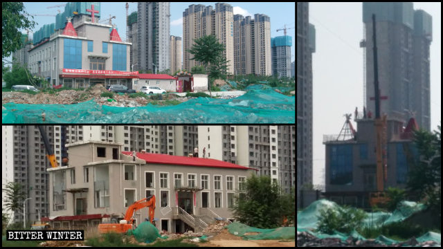 A Three-Self church in Jianzhuang township was leveled on July 6
