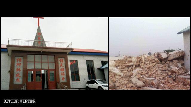 A demolished Three-Self church in Handan's Fengfeng Mining district