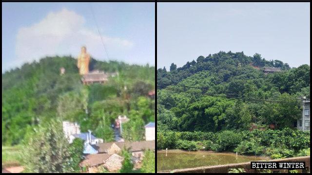 "The ""Meizhou No. 1 large Buddha"" was demolished in November last year."