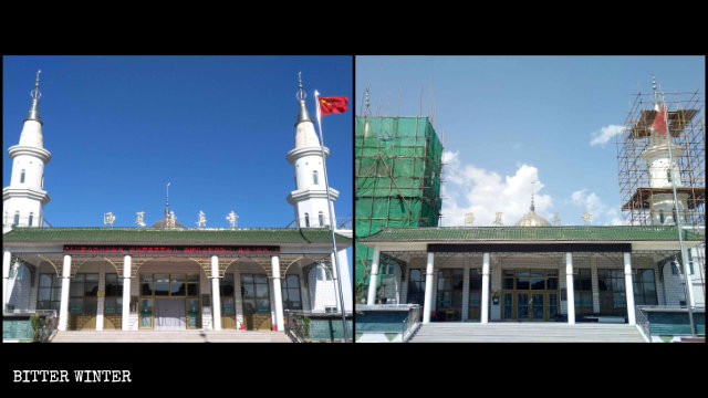 Two minarets on the Xixia Mosque are being prepared for removal