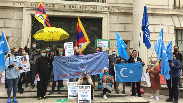 Uyghurs and their supporters from Tibet and Hong Kong