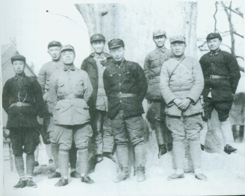 A rare image of CCP cadres in 1936 shows Yang Shangkun as second from left in the front row, and Deng Xiaoping as last from left in the back row.