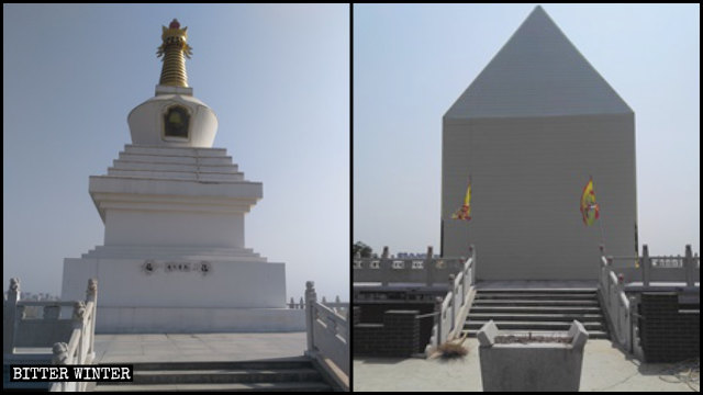 A white Tibetan Buddhist stupa on the Xiaolong Mountain has been covered up.