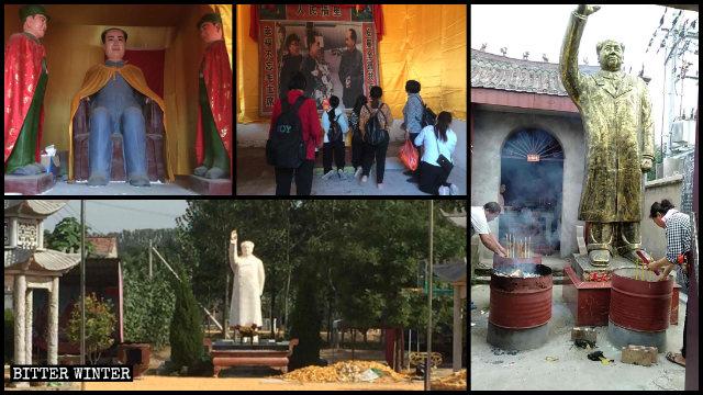 人々は柘城県の寺院で毛沢東を崇拝しています。