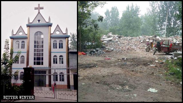 The demolished Three-Self church in Yinzhang village.