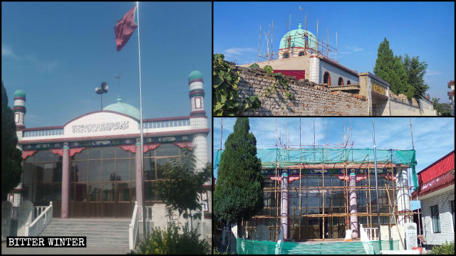 Domes, crescents, and other symbols were removed from the Yingbeizhuang village mosque in Dingningdian town, administered by Hebei's Dingzhou city.