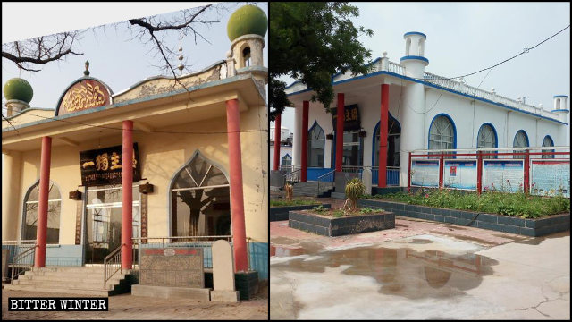 The mosque's exterior walls were painted white.