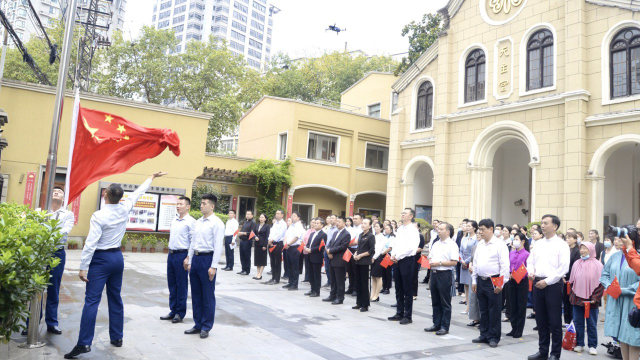 A flag-raising ceremony was held on September 23, as part of a patriotic education activity outside the Shigu Road Catholic Church in the Qinhuai district of Nanjing city in Jiangsu.