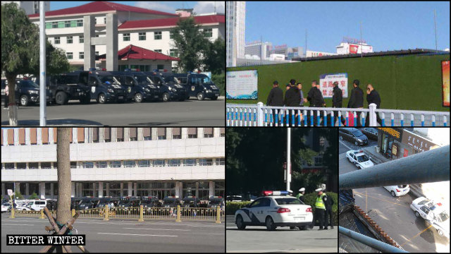 Authorities in Inner Mongolia dispatched police officers to public squares and entrances to schools in September.