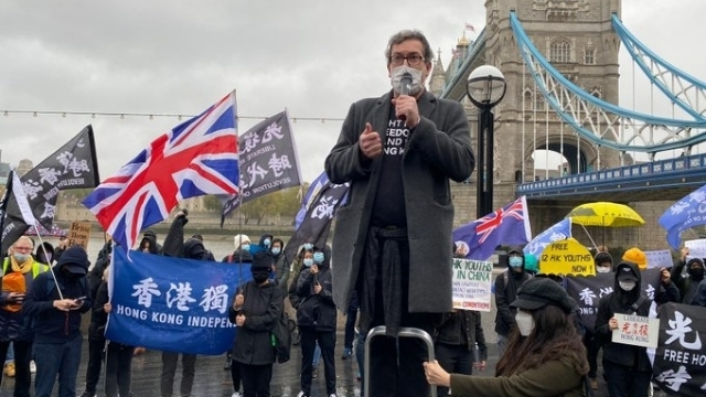 Benedict Rogers speaking at a rally in London.