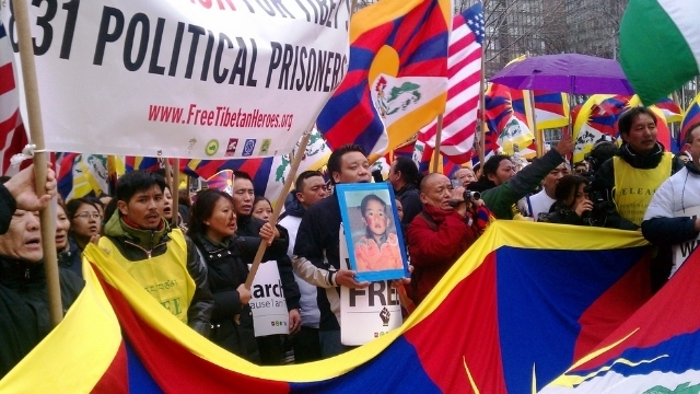 Protesting for atrocities in Tibet at the United Nations in New York.