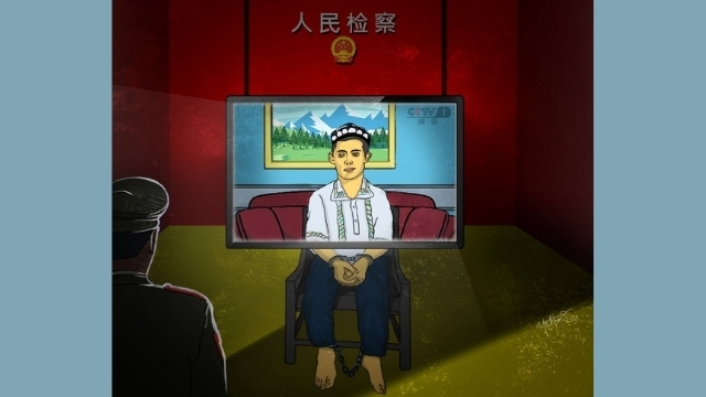 """Artwork by the Uyghur artist who uses the pseudonym Yettesu poignantly depicts how the cynical """"Proof of Life"""" videos are produced in Xinjiang."""