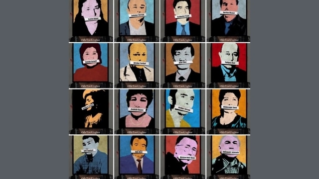 A #MeTooUyghur campaign organized by the anonymous @SuluArtco activist collective, set up to raise awareness about disappearing Uyghur intellectuals.