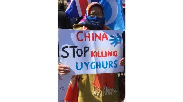 ジェノサイドを直接目にしたウイグル人の抗議者(その話は苦い冬に語られた)。