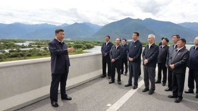 Xiがダムのサイトを訪問(Weiboから)。