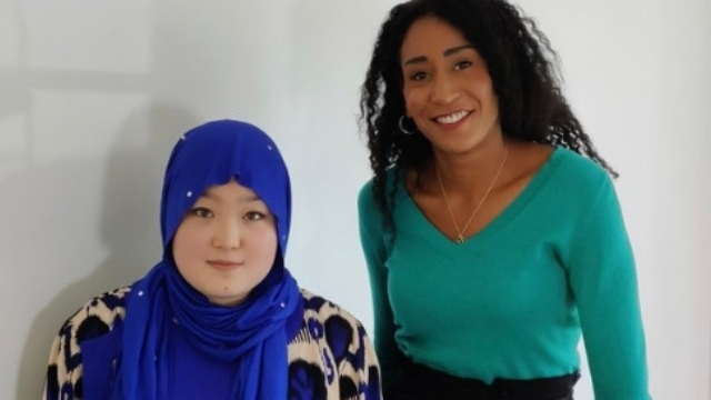 Dilnaz Kerim with BBC presenter Adina Campbell.