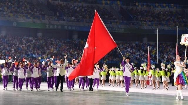 開会式での香港の代表団。 Weiboから。