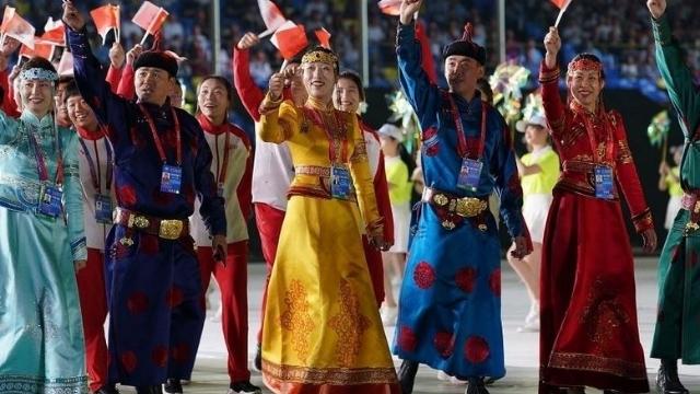 画像3:開会式での内モンゴルの代表団。 Weiboから。